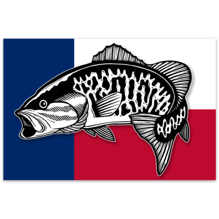Bass Fishing Stickers Texas Colors Smallmouth Bass Sticker